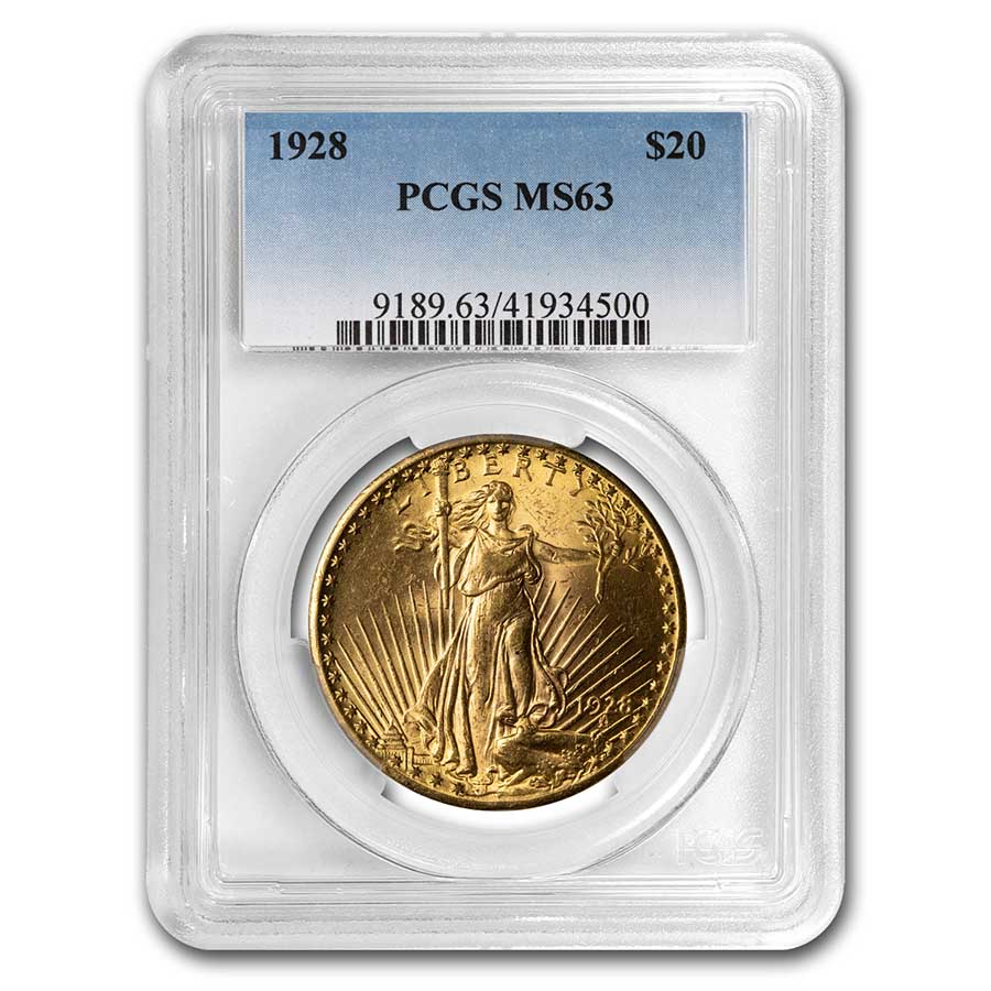 1928 $20 St. Gaudens Gold Double Eagle MS-63 PCGS